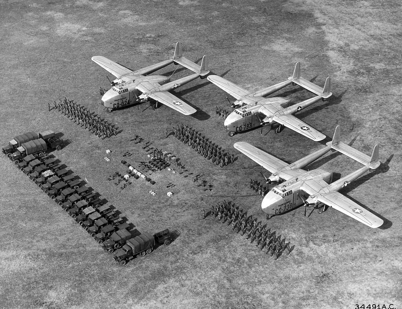 Three C-82s and various troops and cargo in 1948