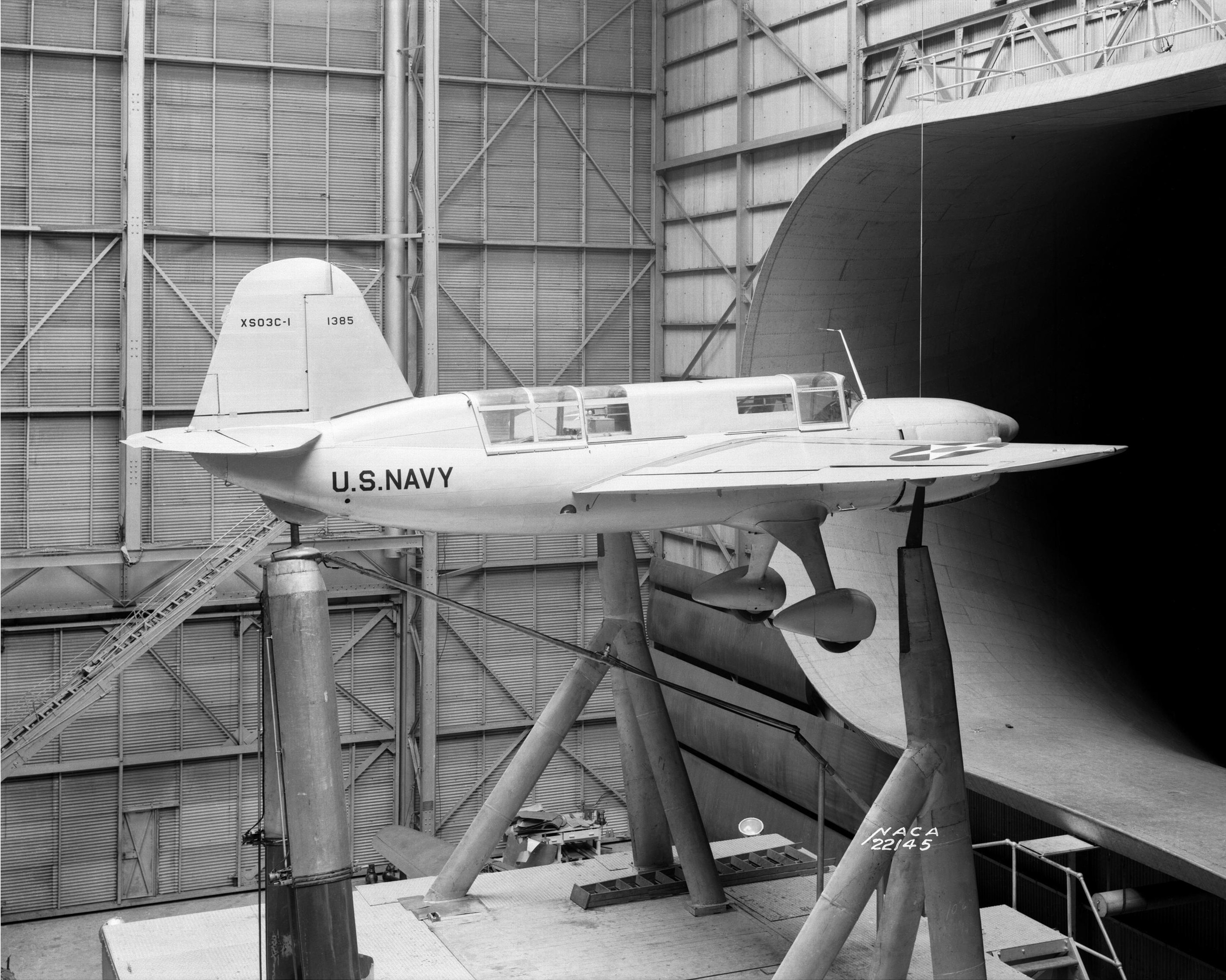Curtiss_XSO3C_in_wind_tunnel_1940