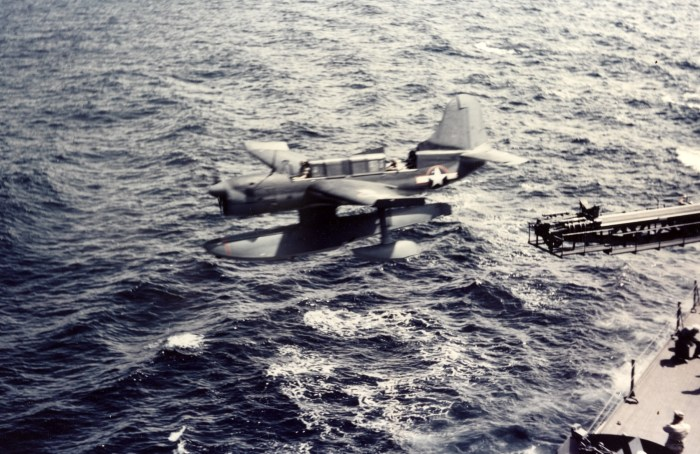 SO3C-3_being_catapulted_from_USS_Biloxi_oct1943_2
