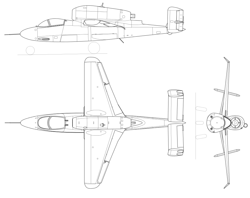 He-162 three view