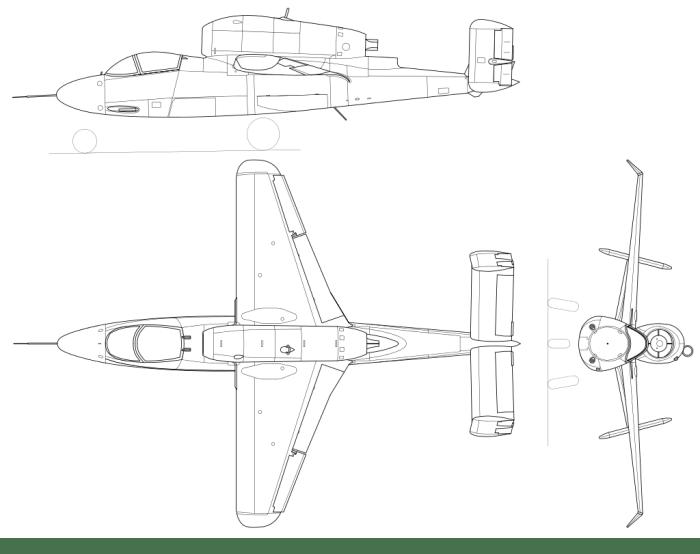 He-162 three view
