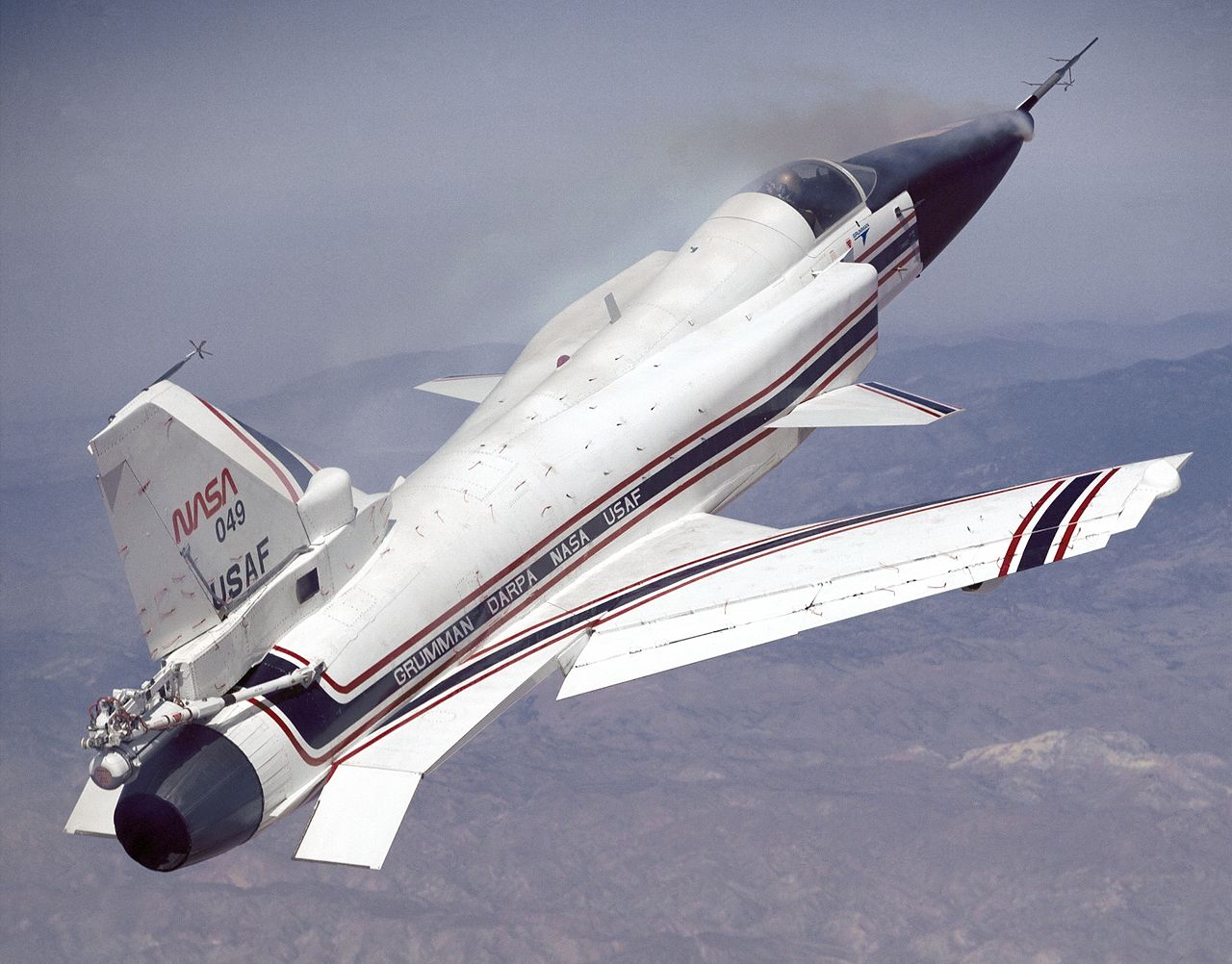 X-29_at_High_Angle_of_Attack_with_Smoke_Generators for comparison