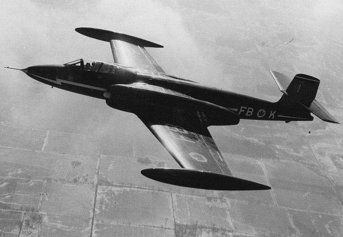 Avro CF-100 Canuck 2nd Prototype 18102 in flight.