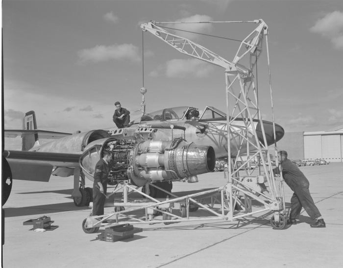 CF-100 Canuck is test flown at Malton Ontario. In this undated photo an Orenda engine is being installed in a Canuck.